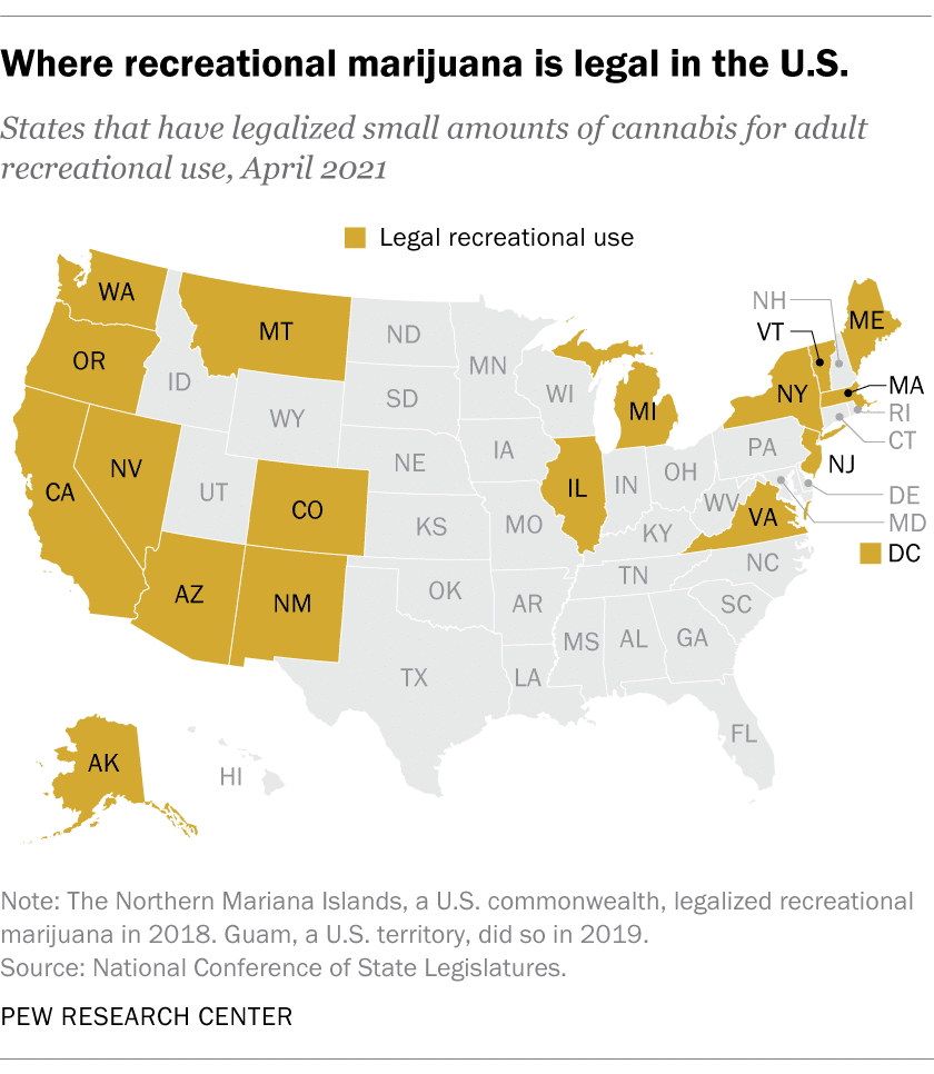 Where recreational marijuana is legal in the United States